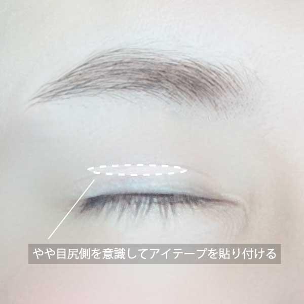 奥二重まぶたは目尻側を意識してアイテープを貼り付ける